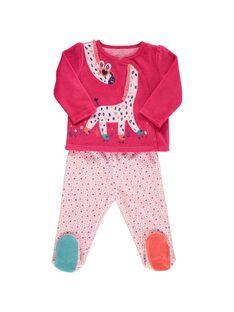 Baby girls' velour pyjamas CEFIPYJGI / 18SH1342PYJ330