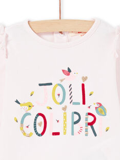Baby Girl Long Sleeve Pink Lettering Hummingbird T-Shirt MIKATEE / 21WG09I1TML632