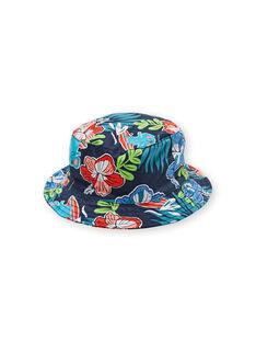 Navy blue hat with floral print baby boy LYUBONCHA / 21SI10W1CHA717