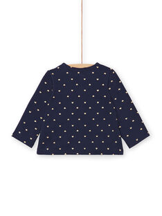 Navy blue and gold vest with baby girl heart print LIJOCAR3 / 21SG0942CAR070