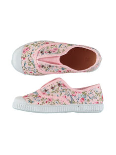 Girls' floral print canvas trainers FFTENFLEU / 19SK35B3D16030