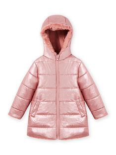 Child girl pink reversible hooded parka in faux fur MACOMPARKA / 21W90164PAR303