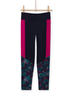 Girl's navy blue floral print legging MAJOBAJOG4 / 21W90119PANC205