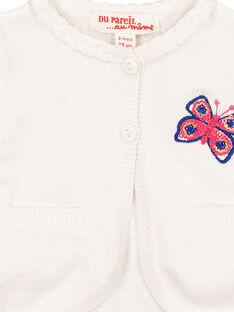 Baby girls' white knit cardigan FITOCAR / 19SG09L1CAR000