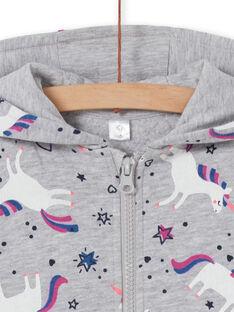 Grey heathered hoodie, unicorn print LAJOHOJOG1 / 21S90141D33943