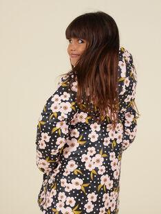 Reversible velvet parka with flowery print child girl MAHIPARKA / 21W90165PARJ905