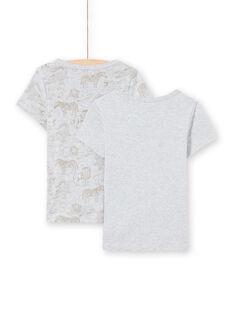 Boy's 2 assorted light grey short sleeve T-shirts MEGOTELSAV / 21WH12B1HLIA010