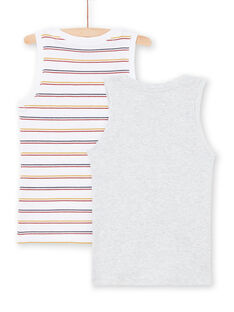 Set of 2 white and grey tank tops with assorted patterns for boys MEGODELDINO / 21WH12B2HLI000