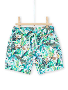 Baby boy green jungle print shorts LUVERBER1 / 21SG10Q1BER001