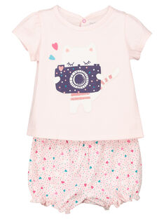 Baby girls' cat print short sleepsuit FEFIPYJCHA / 19SH13H1PYJD310