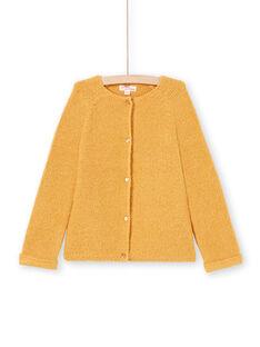 Girl's long-sleeved vest, plain mustard MAJOCAR3 / 21W90116CARB106