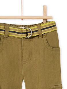 Baby boy's khaki cargo pants with tiger print MUKAPAN3 / 21WG10I3PAN604
