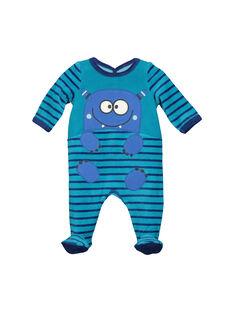 Baby boys' velour sleepsuit FEGAGREMON / 19SH1442GRE714