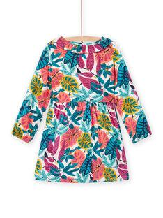 Pink twill dress with flowery print child girl MATUROB2 / 21W901K4ROBH705