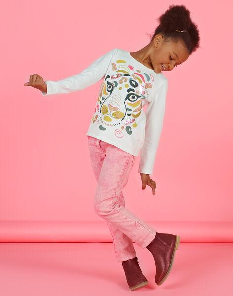 Girl's pink acid wash jeans MAKAJEAN / 21W901I1JEAD305