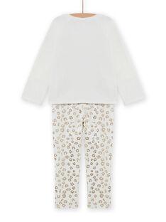 Girl's velvet leopard print pajama set MEFAPYJFEL / 21WH1198PYJ001