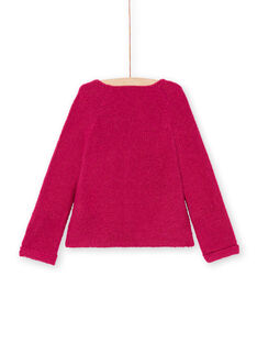 Girl's plain pink long-sleeved cardigan MAJOCAR4 / 21W90122CARD312