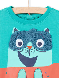 Turquoise long sleeve t-shirt with skater cat design for baby boy MUTUTEE1 / 21WG10K2TMLC217