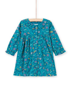 Baby girl long sleeve dress with duck blue floral print MITUROB1 / 21WG09K3ROB714