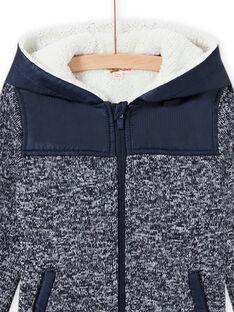 Child boy's blue hooded zip-up jacket MOJOTEKGIL1 / 21W902N2GIL705