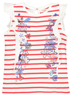 Girls' frilly sleeve T-shirt FATOTI1 / 19S901L2TMC099