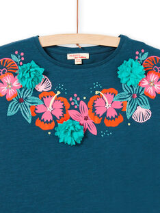 Short sleeve t-shirt with flower print and embossed neckline LABONTI2 / 21S901W3TMC716