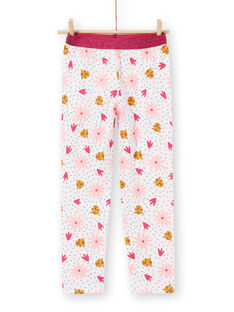 Pink ribbed children's pajamas with panther and flower prints LEFAPYJRIB / 21SH1158PYJ321