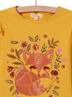 Girl's yellow long sleeve t-shirt with fox pattern MASAUTEE2 / 21W901P1TMLB107