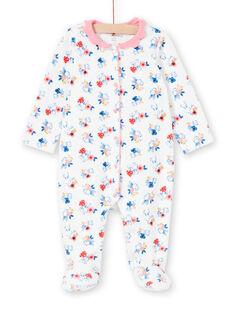 Girl's sleep suit with ecru rabbit print layette collar LEFIGRET2 / 21SH1357GRE001