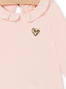 Pink cotton baby girl t-shirt LIJOBRA2 / 21SG0931BRAD326