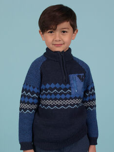 Blue jacquard sweater child boy MOPLAPUL / 21W902O1PUL705