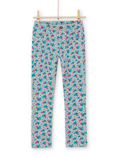 Jeggings gray and pink with floral print brushed fleece child girl LAJOPANT2 / 21S90131D2B943