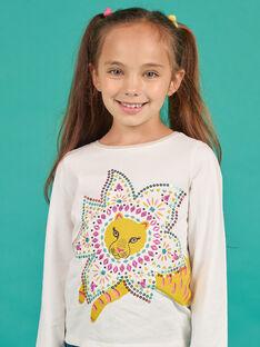 Girl's yellow and ecru t-shirt MATUTEE3 / 21W901K1TML001