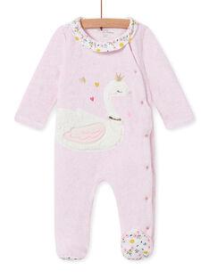 Pink velvet romper with swan motif baby girl MEFIGRESWA / 21WH1385GRED314