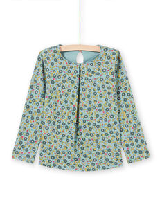 Girl's light green long sleeve blouse with floral print MAKATEE5 / 21W901I5TML612