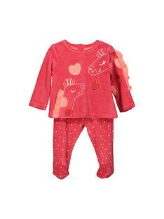 Baby girls' velour pyjamas FEFIPYJGIR / 19SH1341PYJ308