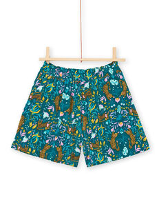 Girl's blue duck shorts with tigers and flowers print LAVERSHORT2 / 21S901Q2SHO714