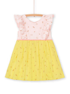Pink and yellow glittery fruit printed dress LAJAUROB3 / 21S901O2ROB307