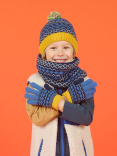 Blue gloves with jacquard pattern child girl MYOGROGAN3 / 21WI0266GAN221