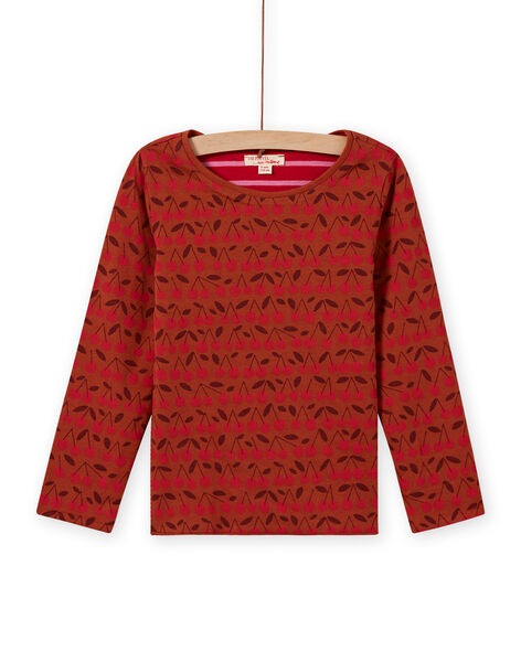 Girl's reversible long sleeve t-shirt in camel and red MACOMTEE4 / 21W901L4TML420
