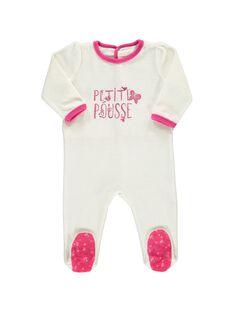 Baby girls' velour sleepsuit CEFIGREPOU / 18SH1342GRE001