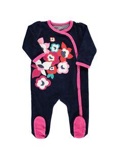 Baby girls' velour sleepsuit CEFIGREFLO / 18SH1345GRE070