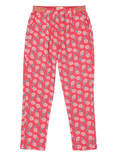 Girls' floral print trousers GAVEPANT / 19W90121PAND318