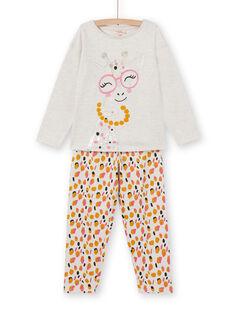 Children's girl's pajamas in brushed fleece with giraffe pattern LEFAPYJGIR / 21SH1113PYJ006