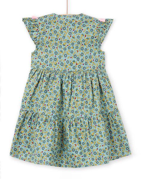 Girl's khaki dress with floral print short sleeves MAKAROB2 / 21W901I1ROB612