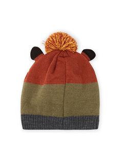 Child boy's khaki green knitted hat with fox pattern MYOGROBON7 / 21WI0267BON809