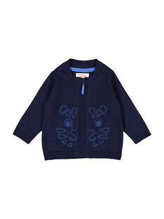 Baby boys' navy blue zipped cardigan FUJOGIL2 / 19SG1032GIL713