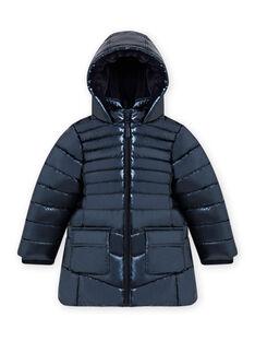 Child girl metallic blue down jacket MALONDOUN2 / 21W90162D3E070