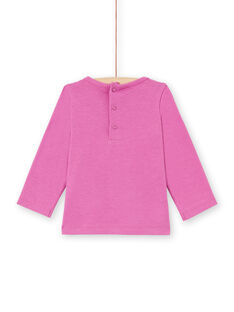 Baby girl pink leopard print long sleeve t-shirt with sequins MIPATEE2 / 21WG09H3TMLH705