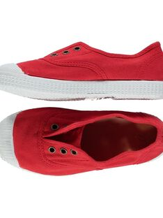 Boys' plain canvas trainers FGTENRED / 19SK36B5D16050